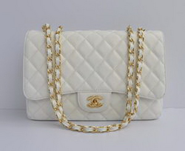 7A Replica Chanel Jumbo A28600 White Caviar with Golden Hardware Flap Bags